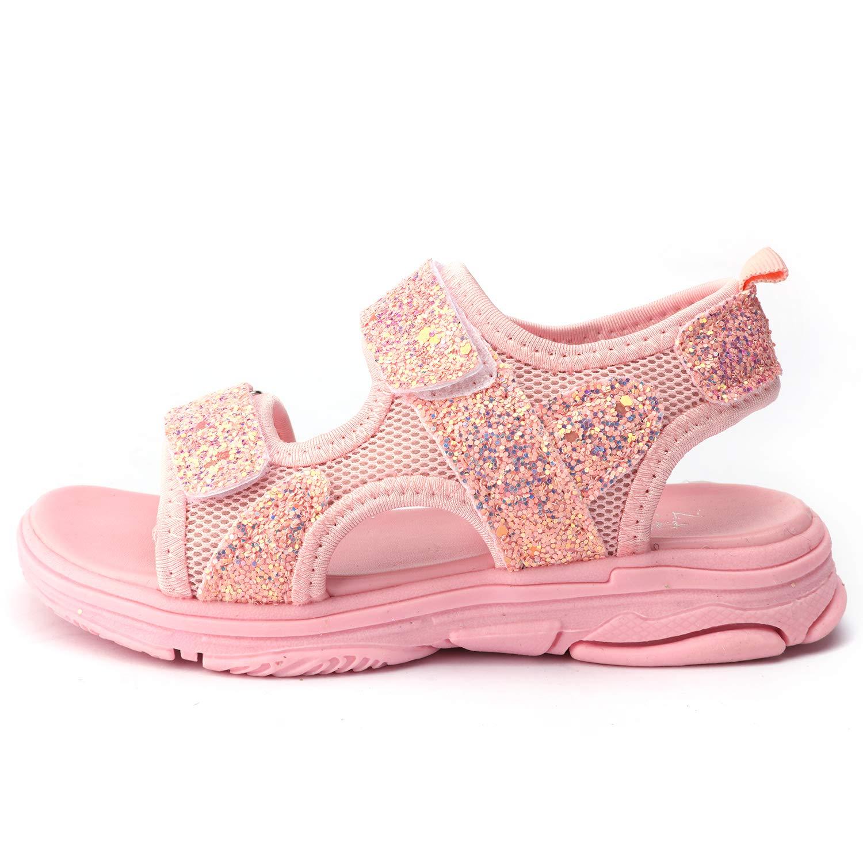 UBELLA Girls Glitter Sequins Open Toe Adjustable Strap Sport Sandals Summer Flat Shoes