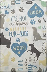 "Vinyl Tablecloth Home is Where My Dog is with Dogs Paws Hearts and Other Saying - Flannel Backed (52"" x 70"" Oblong)"