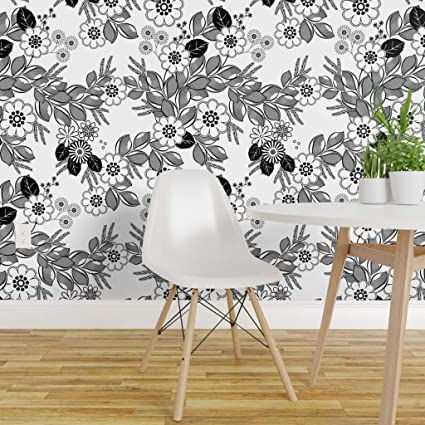 Spoonflower Pre Pasted Removable Wallpaper Black And White