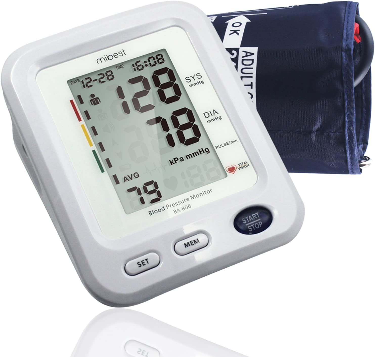 MIBEST Digital Blood Pressure Monitor – BP Cuff Meter with Display -Standard Size Blood Pressure Machine 9.4-13.4 – Blood Pressure Tester with C.E. FDA Certificates – Blood Pressure Gauge with Memory