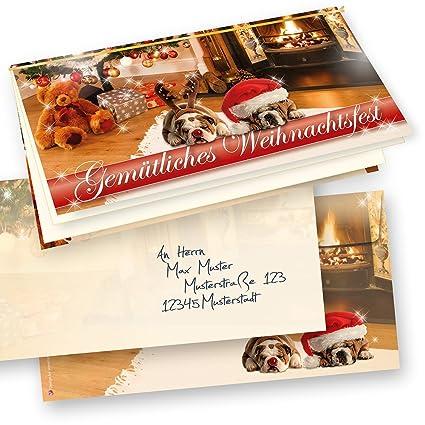 Weihnachtskarten Bedrucken.Premium Top Qualität Weihnachtskarten Klappkarten Drollige Hunde 10 Sets Kuverts Grußkarten Einlageblatt Zum Bedrucken