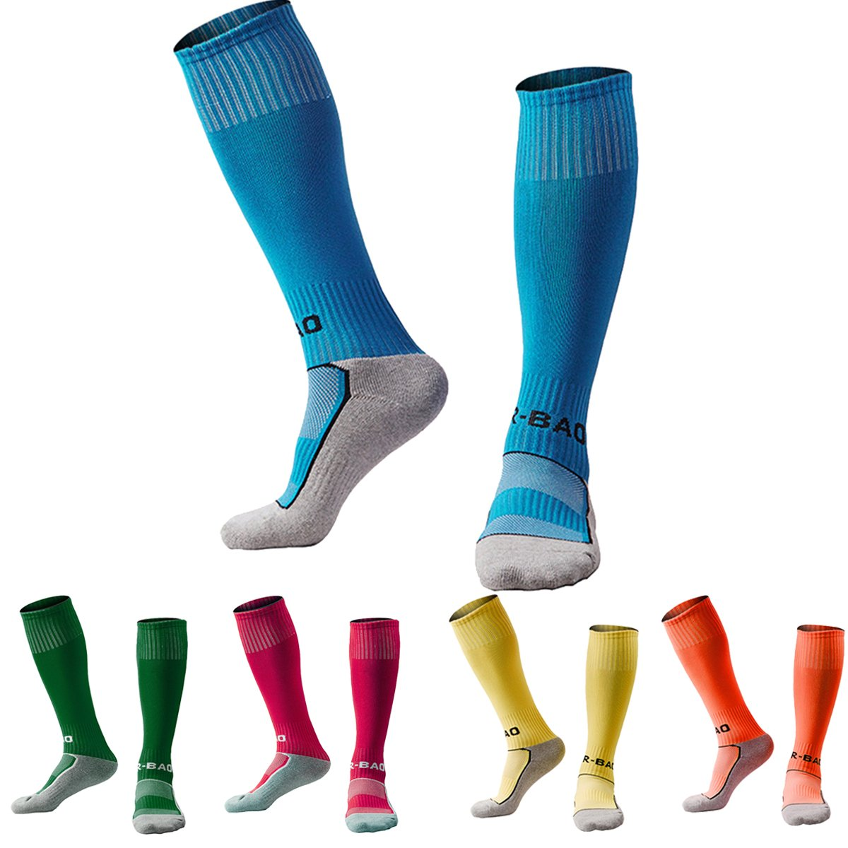 Soccer Socks for Kids 3 Pack / 5 Pack Knee High Cushioned Bottom Compression Football Socks (7-13 Years Boys or Girls)