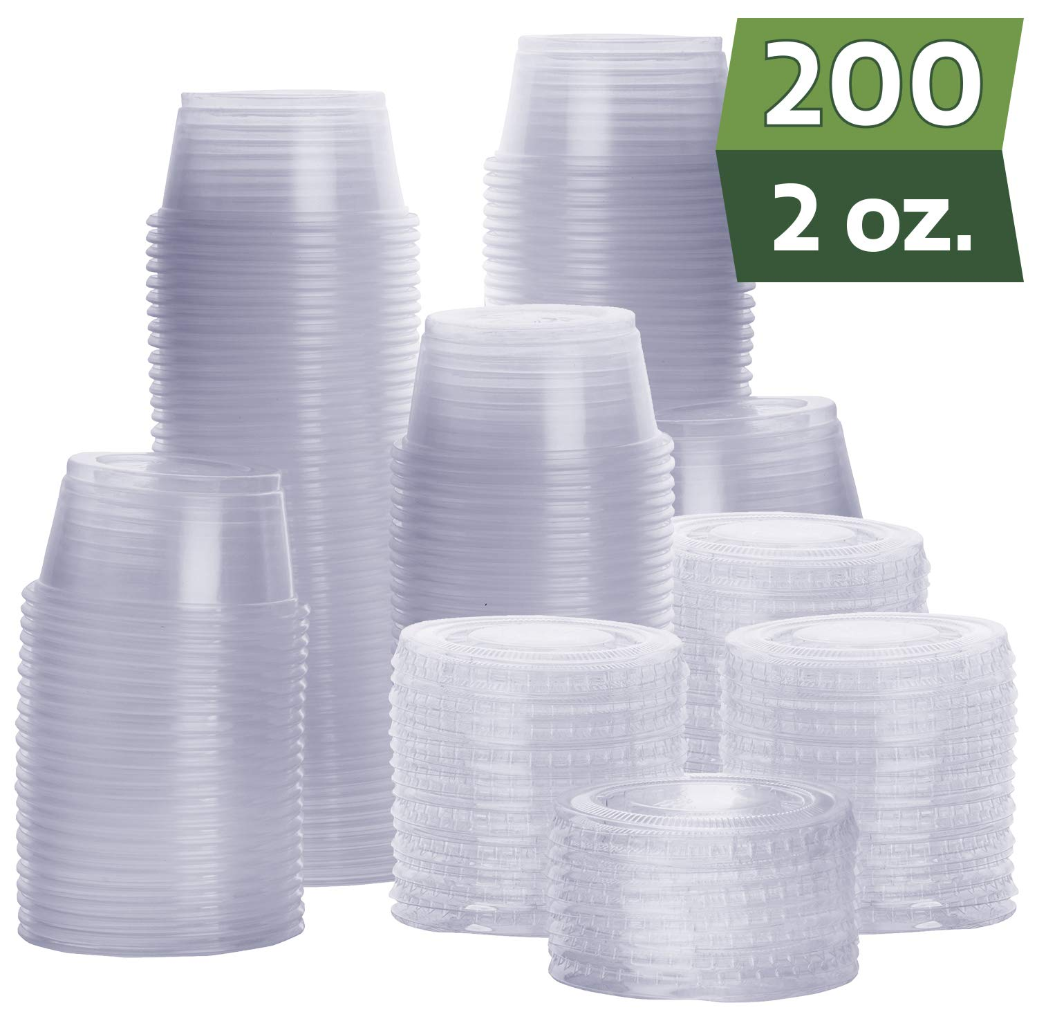 [200 Sets - 2 oz.] Plastic Portion Cups With Lids, Souffle Cups, Jello Shot Cups, Condiment Sauce Containers by Comfy Package