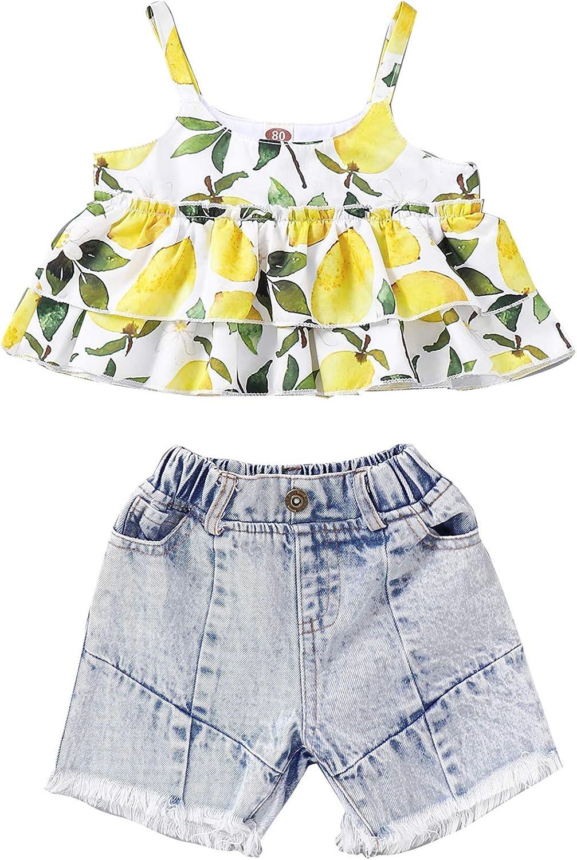 Newborn Baby Girls Short Sleeve Romper Tops Denim Shorts Headband 3Pcs Summer Clothes Set