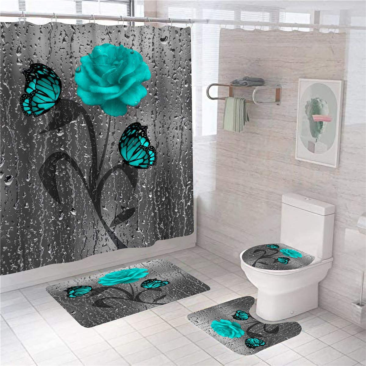 Funky suns 3 piece artist bathroom set accessories Include shower curtain Feathers and bath mat colorful flowers mixed media painting by C.Cambrea. boho chic towel