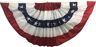 product image for Gettysburg Flag Works 3x6'Patriotic Red White Blue Pleated Fan Decorative Bunting, Printed All-Weather Nylon, 5 Stripe with Stars, for Outdoor Decoration Use, Made in USA