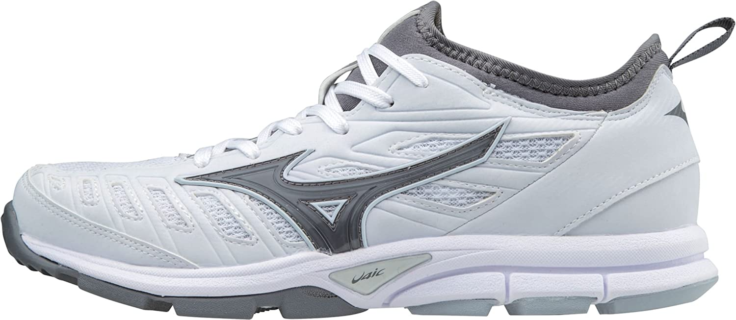 Mizuno (MIZD9) レディース Players Trainer 2 Womens Fastpitch Softball Turf Shoe B072MFJL8M 9 B US|ホワイト/グレー ホワイト/グレー 9 B US