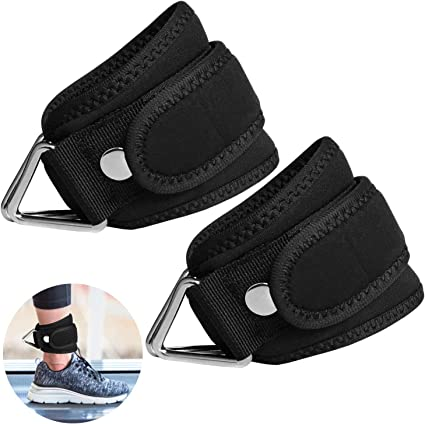 EKON Ankle Straps for Cable Machines Weightlifting Gym Workout Fitness Double D-Ring Neoprene Ankle Cuffs for Legs Abs and Glute Exercises Fits Men/&Women Unisex Sold Single or As A Pair
