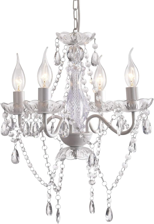 Crystal Chandeliers Mini White Chandelier Lighting 4 Light Modern Hanging Light Fixture