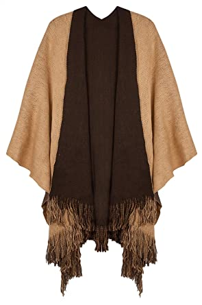 4e8b460ea Lovful Women's Winter Reversible Blanket Poncho Cape Sweater Coat Shawl  Cardigans
