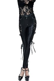 6fa6c4ee3c0e Devil Fashion Steampunk Weinlese Floral Pu-Leder Schnüren Spitze Gamaschen  Sexy Gothic Hosen Schwarz Für