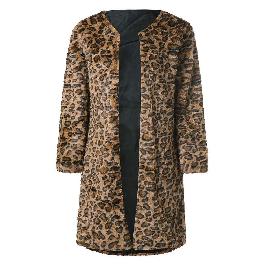Coffee Toaimy 2019 Newest Blouse, Wome's Leopard Print ManMade Jacket in Long Winter Parker Jacket