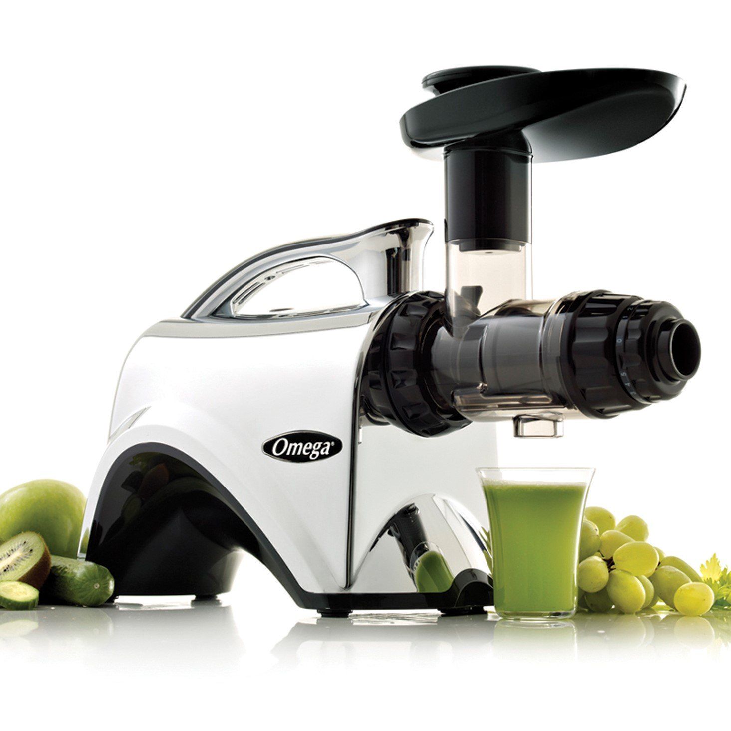 Omega NC900HDC Juicer Extractor and Nutrition Center Creates Fruit Vegetable and Wheatgrass Juice Quiet Motor Slow Masticating Dual-Stage Extraction with Adjustable Settings, 150-Watt, Metallic by Omega Juicers