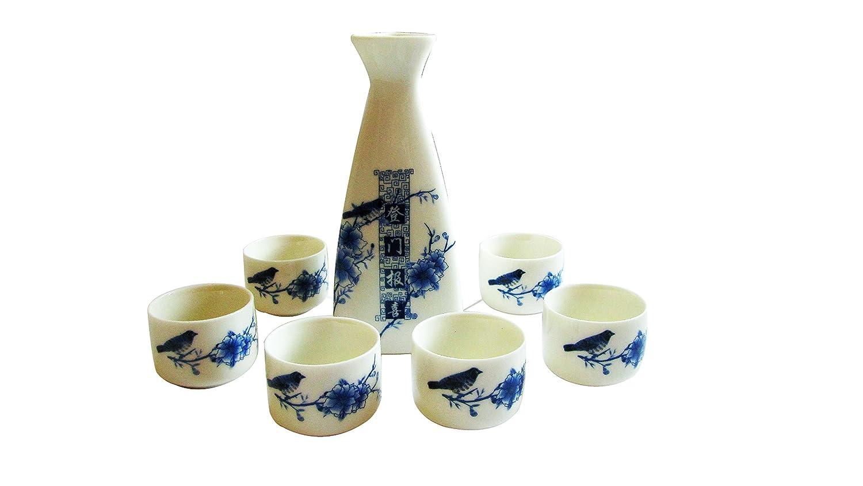 J-ss9-beautiful Service à saké en porcelaine fine (1bouteille et 4tasses) en Lucky Bird et fleur Design-blue et blanc CHINA ELEMENTS