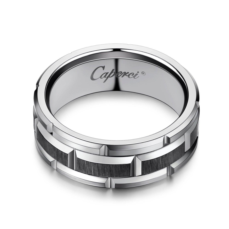 Caperci Men s 8mm Brick Pattern Tungsten Wedding Band Ring Amazon