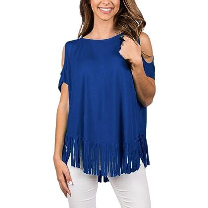 0ff625432253b Sidefeel Women Casual Tassel Cold Shoulder Fringe Tops and Blouses Medium  Blue
