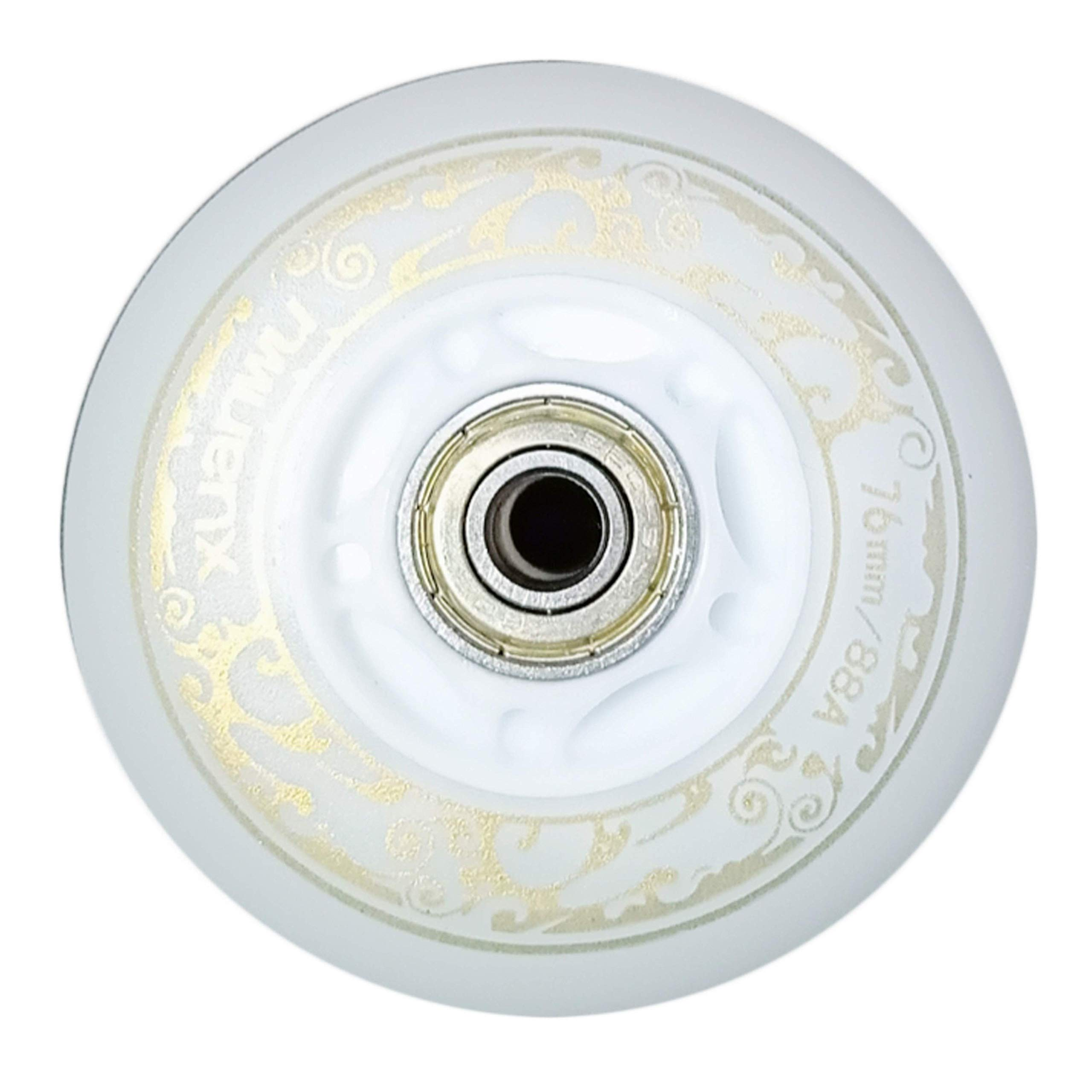you-beat-you-land Light Up Led Inline Skates Pu Wheels Outdoor and Indoor Rubber Wheels Pack of 4 White-70mm by you-beat-you-land
