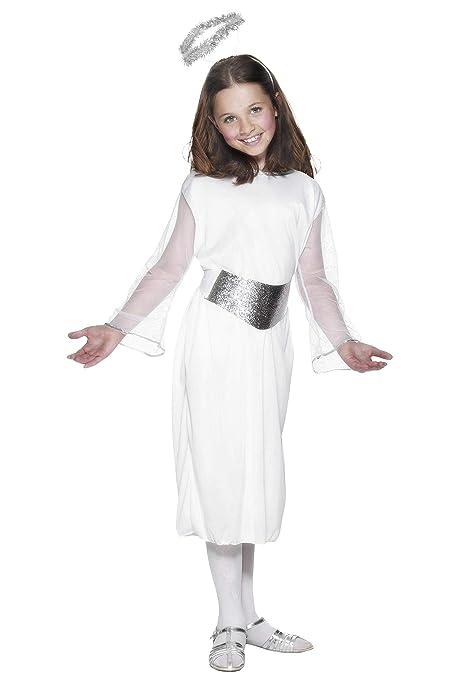 Smiffys Kinder Mädchen Engel Kostüm, Kleid, Gürtel und Heiligenschein, Größe: S, 99340