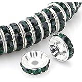 RUBYCA 100 件优质捷克水晶水钻圆形波浪银色玻璃垫圈