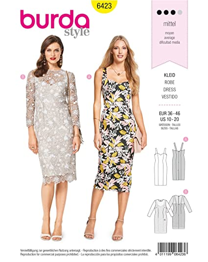 5913fed7 Image Unavailable. Image not available for. Color: Burda Style Sewing  Pattern B6423 - Misses' Summer Strap Dresses ...