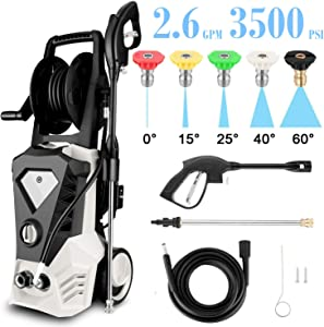 High Pressure Washer 3500 Max PSI 2.6 GPM Electric Car Pressure Washer with Hose Reel, 32 ft Cable and 5 Quick-Connect Spray Tips for Home Garden (US Stock) (Beige)