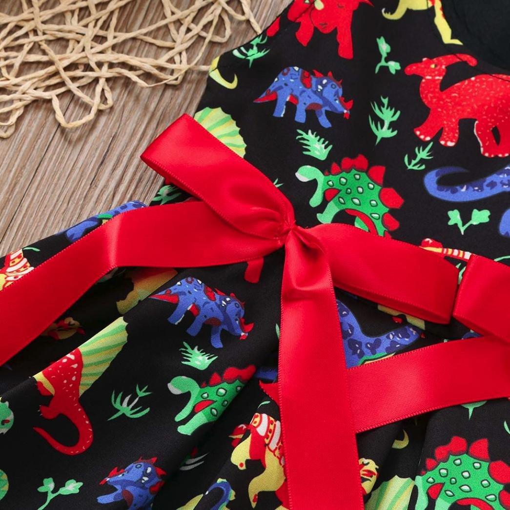 Memela Girls Clothing,Toddler Baby Girls Cartoon Dinosaur Sleeveless Dress+Headband Clothes Outfits