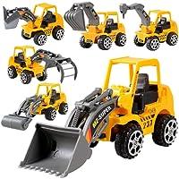 Murieo Vehicules Chantier Ensemble, 6pcs Minin Camion de Construction Véhicule Pousser des Voitures Jouets ingénierie Enfants (Age 3 +)