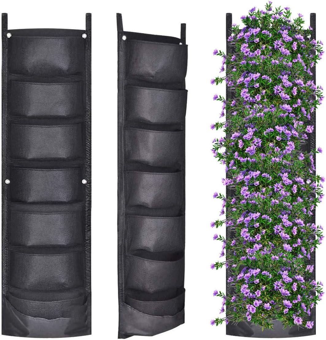 YSBER 2Pack-7 Pockets Vertical Wall Garden Planter - Deeper and Bigger Felt Wall Mount Planter Pouch