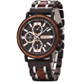 BOBO BIRD Personalized Mens Wood Watch Wooden Watches Luxury Stylish Wooden Watches Chronograph Military Timepiece