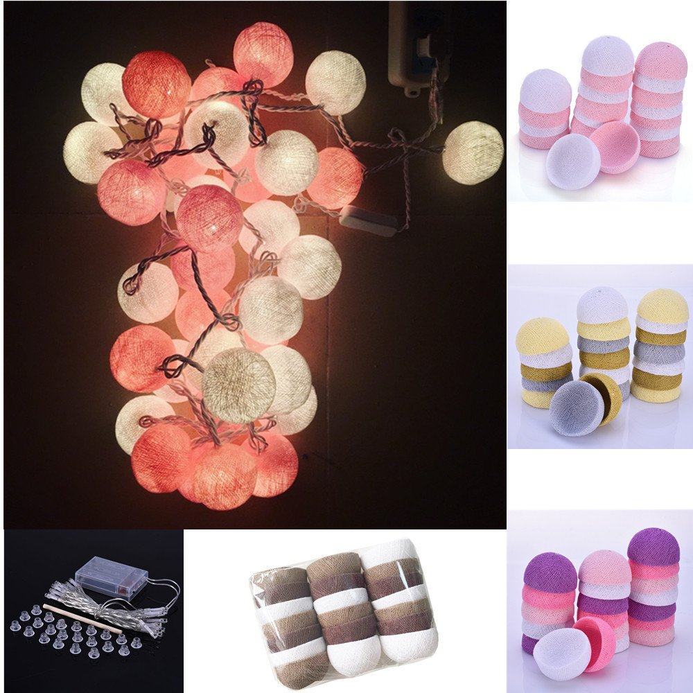 With : Cotton Ball Decorative String Light Thai Handmade Thread 20 Balls String Lamp Used For Home Party Decoration by Generic
