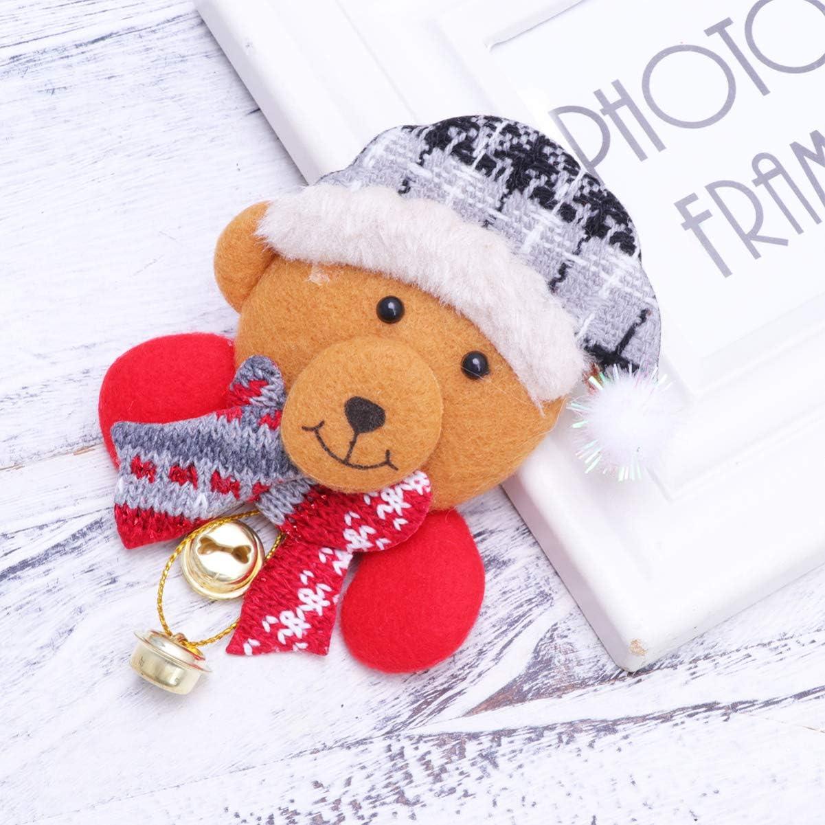 NUOBESTY Weihnachten B/är Brosche mit Glocken Anstecknadel Brosche Pins Weihnachtsschmuck Geschenk f/ür Kinder M/ädchen Frauen Kleidung