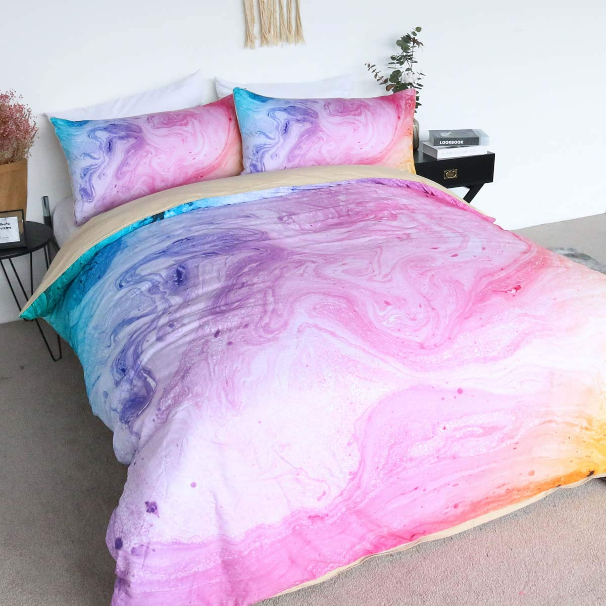 BlessLiving 100% Cotton Marble Duvet Cover Colorful Marble Bedding Pastel Pink Blue and Purple Bedspread 3 Pieces Girls Bed Set (Twin)