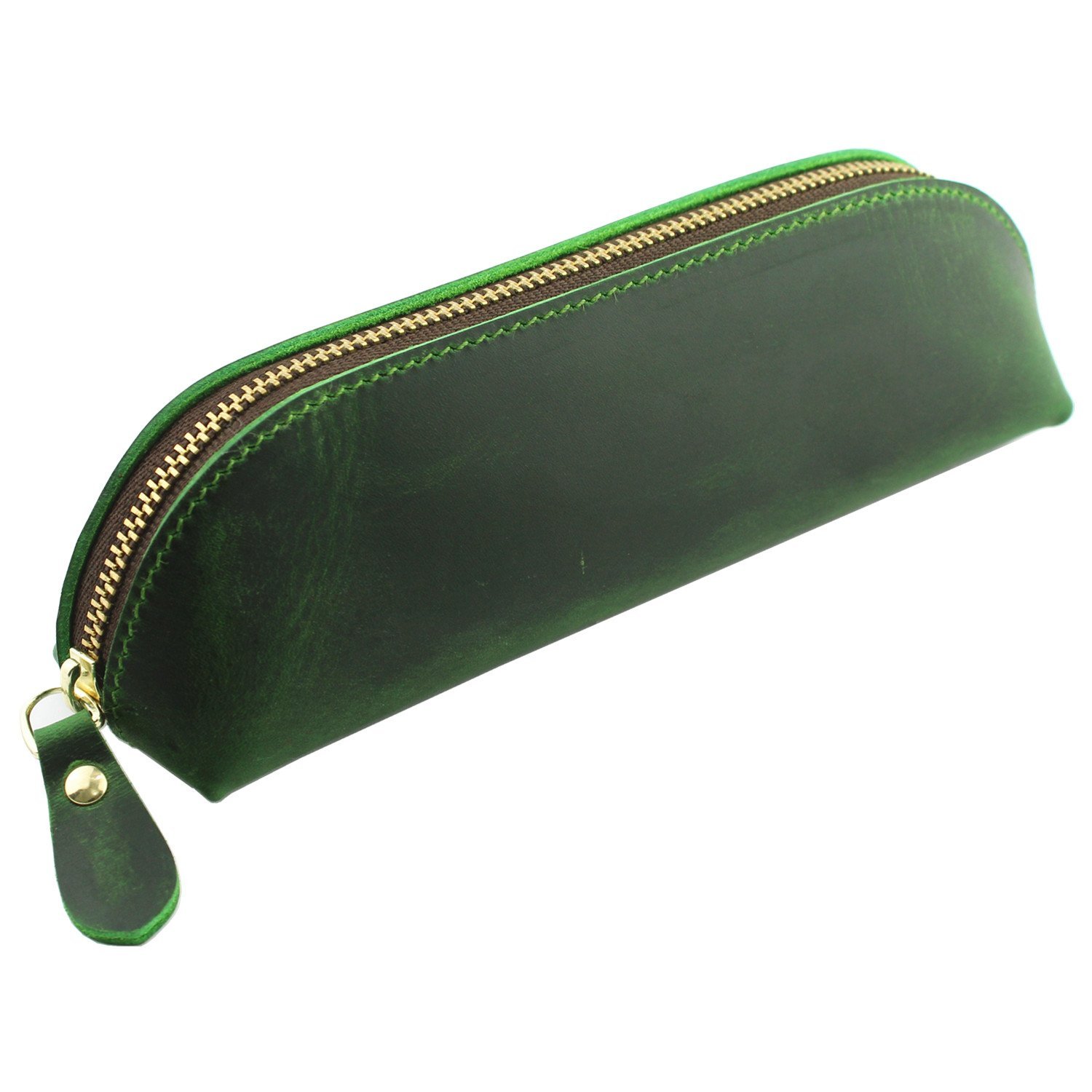 LXFF Handmade Leather Zipper Pen Pencil Pouch Case Holder Bag for College School Office Business Work Vintage Green