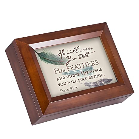 Amazon com: You Will Find Refuge Psalm 91:4 Feather Wood
