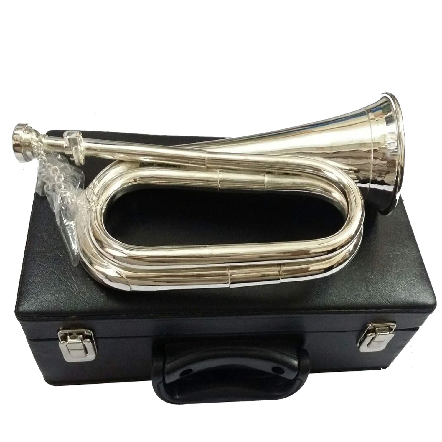 New Professional British Army Bb Bugle Silver Plated Tune able/Bb Bugle Silver