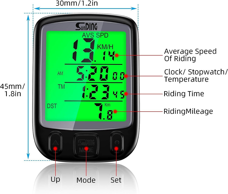 cuentakil/ómetros Ciclocomputador inal/ámbrico BizoeRade multifunci/ón con retroiluminaci/ón LCD y funci/ón de Despertar autom/ático Resistente al Agua