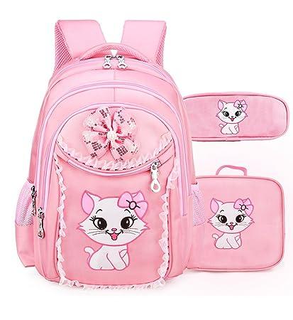 Debbieicy Cute Cat Printing Lace Backpack Lightweight Princess School Bag Kids Bookbag Handbag Pen bag Set for Primary Girls Large, Pink1 backpack handbag pen bag
