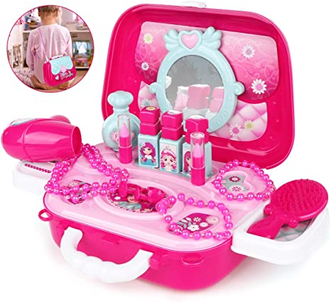 Simple Style Hair Dryer Baby Girls Pretend Play Bathroom Set Make Up Supply