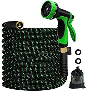 MEACKLE Expandable Garden Hose, 25ft Water Hose with 10 Patterns Spray Nozzle, Flexible Latex Pipe 3/4 Solid Brass Fittings, Lightweight Leakproof (25Ft)