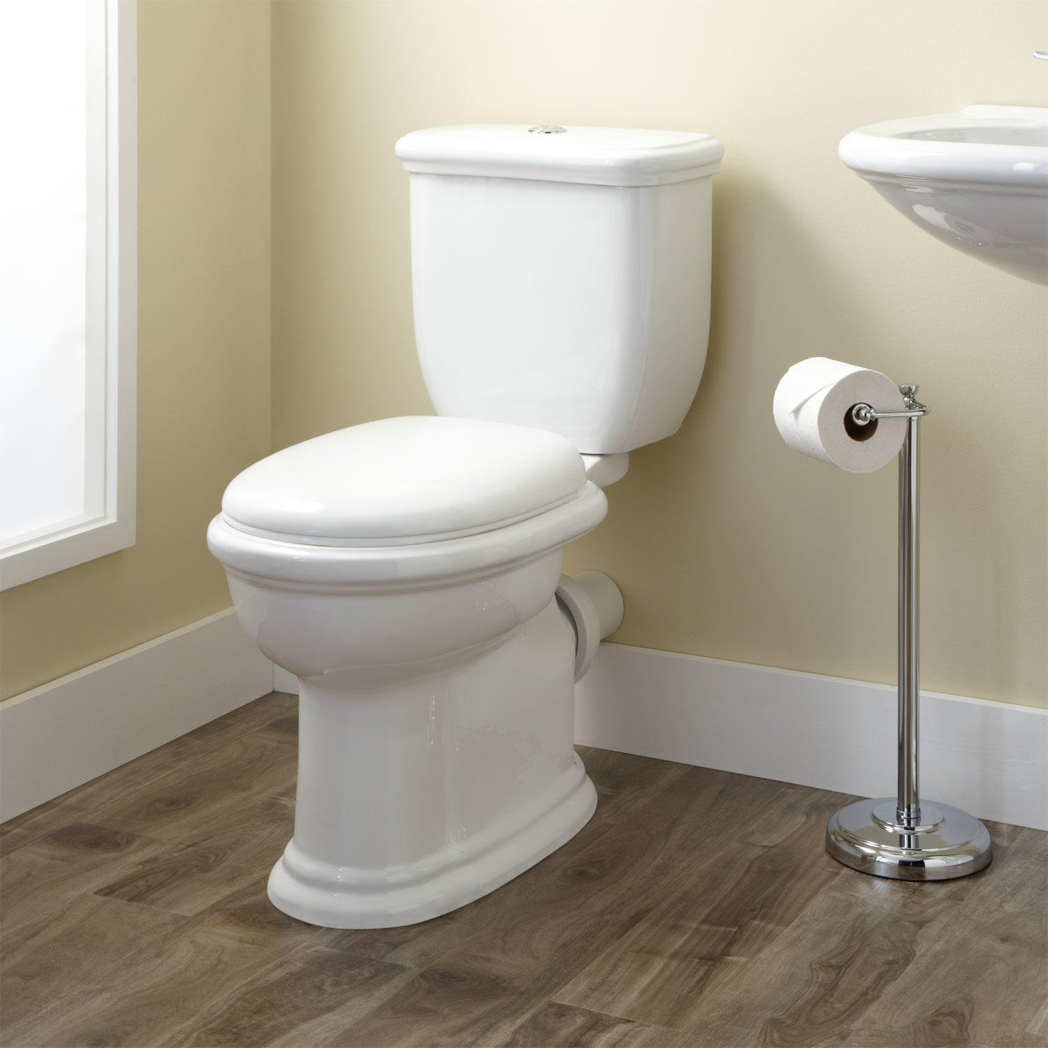 Phenomenal Signature Hardware 393188 Kennard 1 6 Gpf Rear Outlet Two Piece Elongated Chair Height Toilet Seat Included Ncnpc Chair Design For Home Ncnpcorg