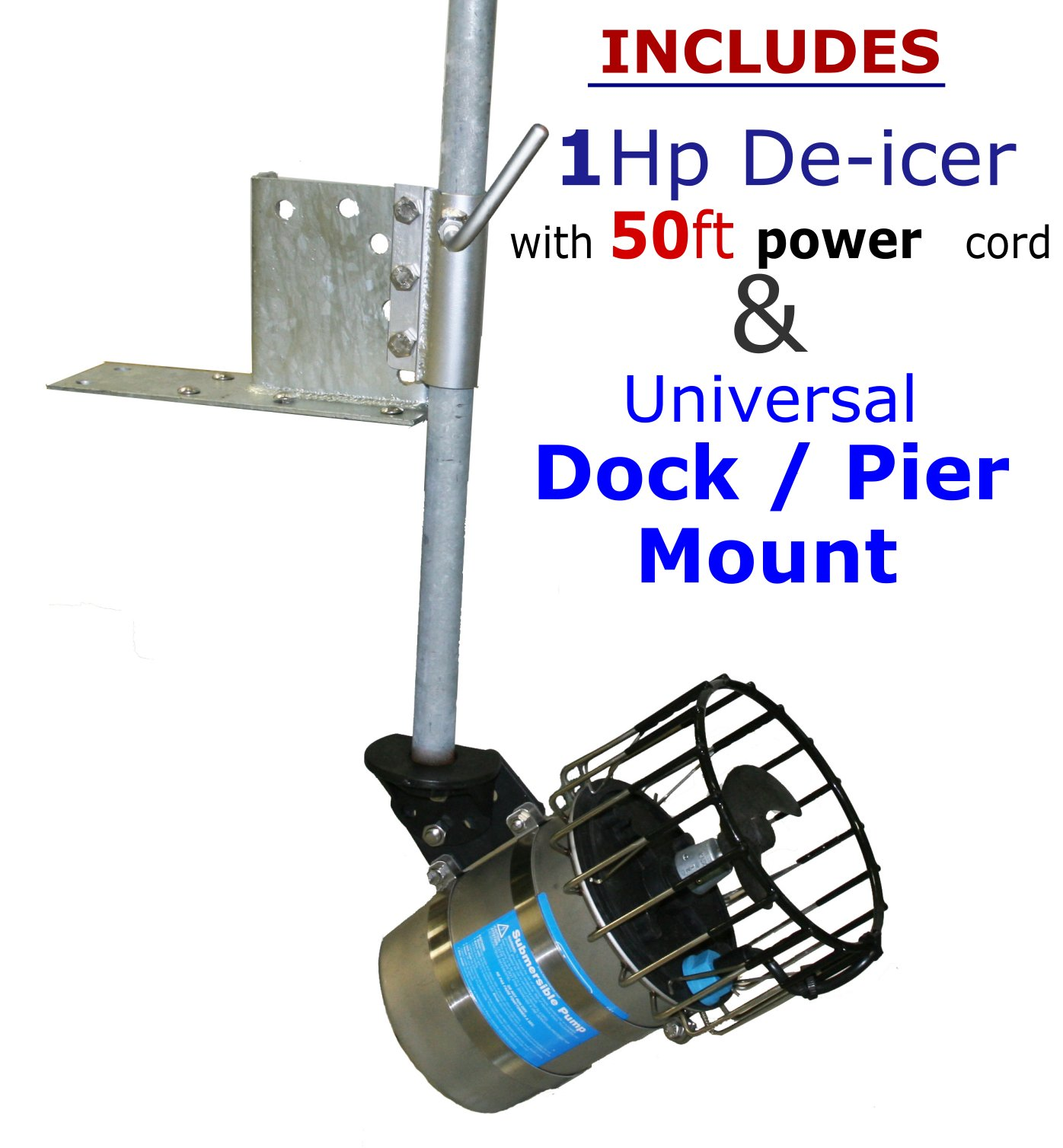 Kasco 1 Hp De-icer w/ 50ft Cord + Universal Dock / Pier Mount - Deicer for Water, Lake, Pond, Marina, Dock, Pier - Model# 4400d50