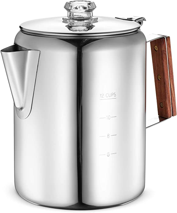 Eurolux Percolator Coffee Maker Pot - 12 Cups | Durable Stainless Steel Material | Brew Coffee On Fire, Grill or Stovetop | No Electricity, eNo Bad Plastic Taste | Ideal for Home, Camping & Travel (Renewed)