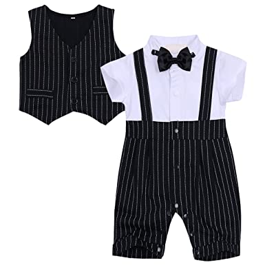 dca40c4f5 Amazon.com  FEESHOW Baby Boys  Cotton Gentleman Outfit Romper Vest ...