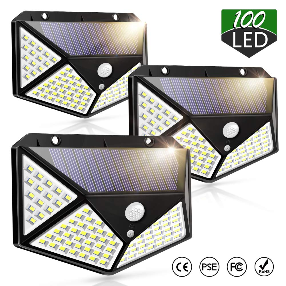 Solar Lights Outdoor 100 LED Wireless Motion Sensor Light 270° Wide Angle Super Bright Lighting, Suitable for Installation On The Side of The House, Walls, Aisles, Garages, 3 Pack by Piqiu
