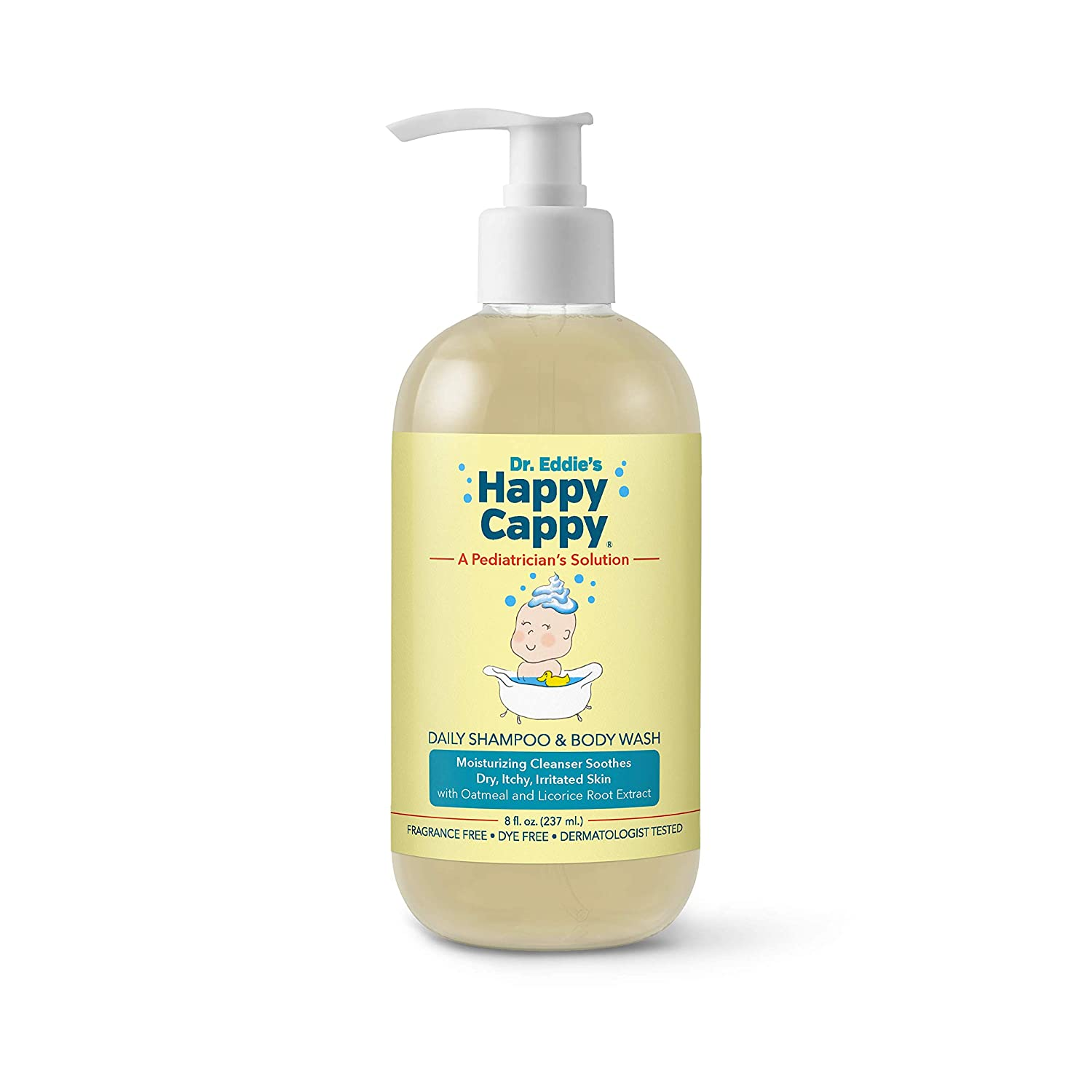 Dr. Eddie's Happy Cappy Daily Shampoo & Body Wash for Children, Soothes Dry, Itchy, Sensitive, Eczema Prone Skin, Dermatologist Tested, Fragrance Free, Dye Free, 8 oz