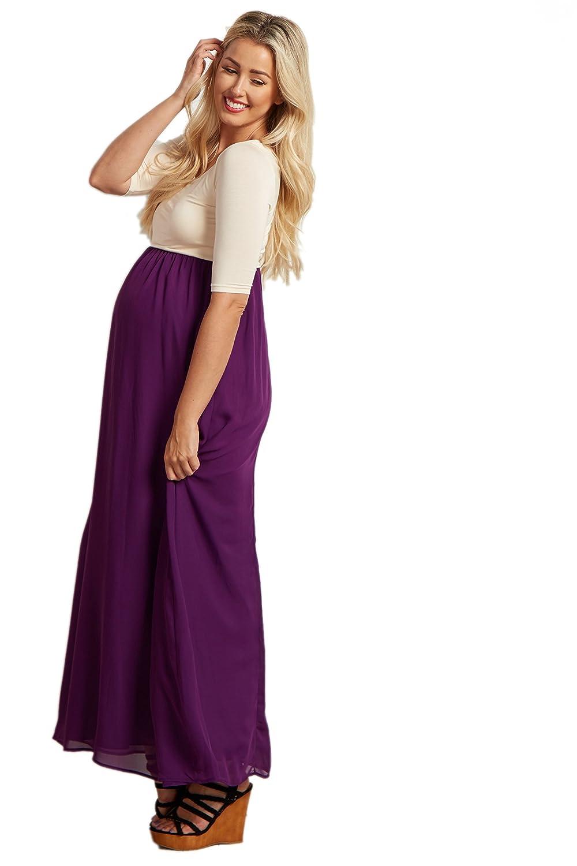 89a68f1f8bd4 PinkBlush Maternity Purple Chiffon Colorblock Tall Maternity Maxi Dress,  Small at Amazon Women's Clothing store: