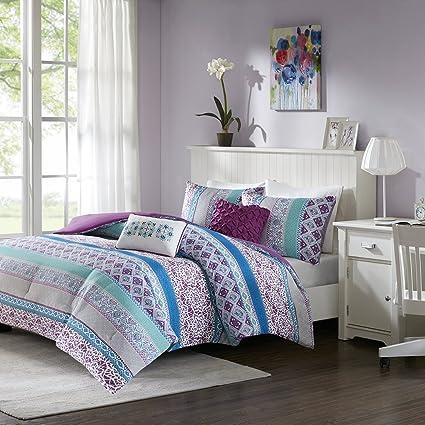 Intelligent Design Joni Comforter Set Full/Queen Size   Purple, Blue,  Bohemian Pattern