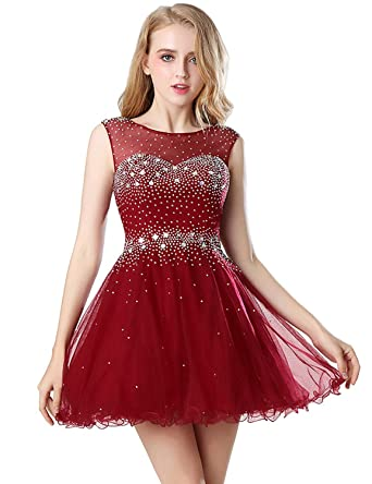 b1d4114f840 anmor Juniors Beading Homecoming Prom Dresses Short Sexy Backless Wedding  Party Gowns Burgundy US2