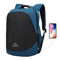 Mochila para Ordenador portatil 17.3/15.6 Pulgadas USB Bolso Seguridad Antirrobo Impermeable Bolsa Viajes para Colegio Viaje Negocios, Estudiantes/Hombre/Mujer
