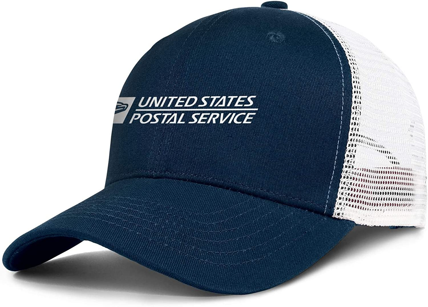 Mens Womens White-United-States-Postal-Service-Logo- Wool Adjustable Trucker Cap